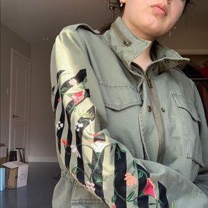 Jackets & Blazers - Embroider flower green spring coat